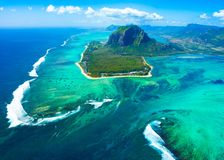 Aerial view of Mauritius island. Panorama and famous Le Morne Brabant mountain, beautiful blue lagoon and underwater waterfall stock photo