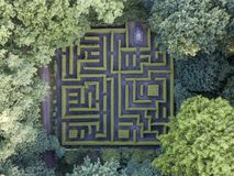 Aerial view of maze in the Anholt castle park stock images