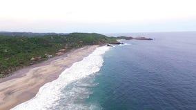 Aerial View Of The Mazunte Beach In The Oaxacan Coast. Mazunte Oaxaca, Mexico. Take 3 stock video