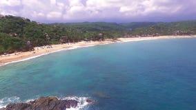 Aerial View Of The Mazunte Beach In The Oaxacan Coast. Mazunte Oaxaca, Mexico. Take 2 stock video footage
