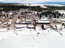 Aerial view of McCall Idaho with frozen boat docks in the lake a Stock Image