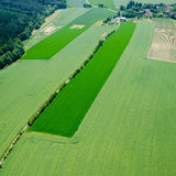 Aerial view of meadow in road and agriculture fields with forest Stock Image