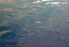 Aerial view of meadows and cultivated fields. Cultivated field from above. Aerial view of meadows and cultivated fields, Buenos Aires, Argentina Stock Image