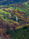 Aerial view of meadows and rolling hills in autumn, Bobija mountain Stock Photos