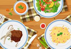 Aerial view of meals. Illustration stock illustration