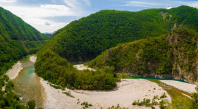 Aerial view of a meander of the river Trebbia during the summer Stock Photography