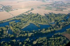Aerial View -  Meandering river. Stock Photo