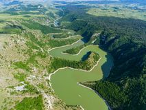 Meanders at rocky river Uvac river in Serbia Royalty Free Stock Images