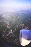 Aerial view of Medan from air plane. Royalty Free Stock Photos