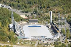 Aerial view of the Medeo stadium in Almaty, Kazakhstan. Stock Photography