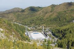 Aerial view of the Medeo stadium in Almaty, Kazakhstan. Royalty Free Stock Photo