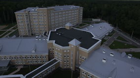 Aerial view of medical center stock video footage