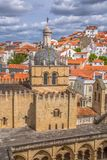 Aerial view of the medieval building of Coimbra Cathedral, Coimbra city and sky as background, Portugal. Coimbra / Portugal - 04 04 2019 : Aerial view of the royalty free stock photo