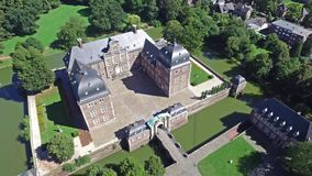 Aerial view of the medieval castle in Ahaus. Germany stock footage