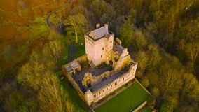Aerial view of Medieval Castle Campbell ruin at Glen Dollar, Clackmannanshire, Scotland.  stock video footage