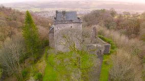 Aerial view of Medieval Castle Campbell ruin at Glen Dollar, Clackmannanshire, Scotland