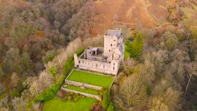 Aerial view of Medieval Castle Campbell ruin at Glen Dollar, Clackmannanshire, Scotland.  stock video