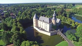 Aerial view of the medieval castle Gemen stock footage