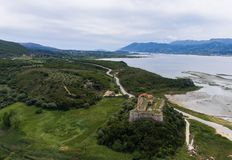 Aerial view of medieval castle of Grivas, Lefkada,Greece.  royalty free stock photo