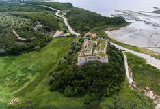 Aerial view of medieval castle of Grivas, Lefkada,Greece.  stock photography