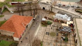 Aerial View Of Medieval Castle Mediana in Naissus. Aerial drone view of medieval castle/tower in Naissus. Some parts of castle is dated from romanian period stock video footage