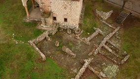 Aerial View Of Medieval Castle Mediana in Naissus. Aerial drone view of medieval castle/tower in Naissus. Some parts of castle is dated from romanian period stock footage