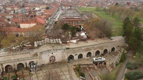 Aerial View Of Medieval Castle Mediana in Naissus. Aerial drone view of medieval castle/tower in Naissus. Some parts of castle is dated from romanian period stock video