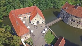 Aerial view of the medieval castle Vischering in Luedinghausen, Germany stock video