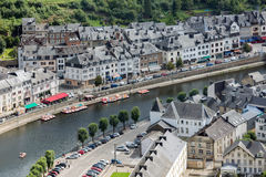 Aerial view medieval city Bouillon along river Semois in Belgium Royalty Free Stock Photography