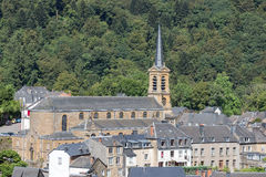 Aerial view at medieval city Bouillon with old church in Belgium Royalty Free Stock Photography