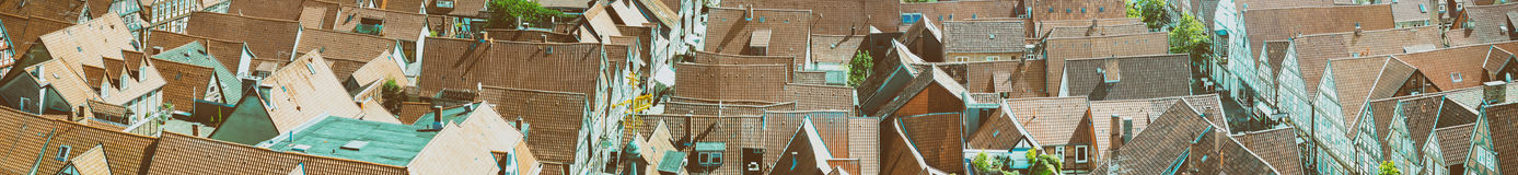 Aerial view of medieval city rooftops.  Stock Images