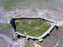 Aerial view of medieval fortress Enisala. Top down view. Stock Images