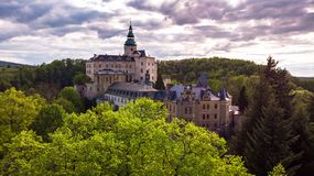 Aerial view of Medieval Gothic and Renaissance style castle royalty free stock image