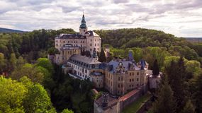 Aerial view of Medieval Gothic and Renaissance style castle stock photography