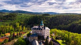Aerial view of Medieval Gothic and Renaissance style castle royalty free stock images