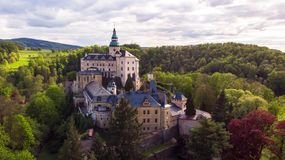 Aerial view of Medieval Gothic and Renaissance style castle royalty free stock photo