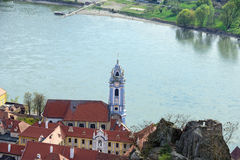 Aerial view of the medieval monastery Duernstein on the river Danube in the Wachau valley. Lower Austria Stock Images
