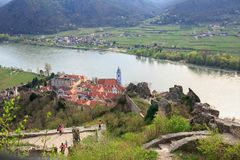 Aerial view of the medieval monastery Duernstein on the river Danube in the Wachau valley. Lower Austria. Aerial view of the medieval monastery Duernstein б Royalty Free Stock Photos