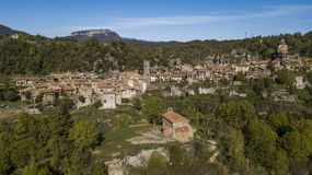 Aerial view of medieval Rupit village in the county of Osona, Catalonia, Spain stock images