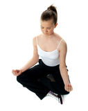 Aerial view of meditating girl Stock Image