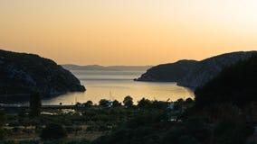 Aerial view of mediterranean coast around Porto Koufo harbor at sunset Royalty Free Stock Photography