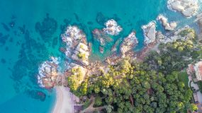 Aerial view of the mediterranean coast in Lloret de Mar. Aerial photo of the mediterranean coast in Lloret de Mar, Spain Stock Photos