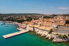 Aerial view of mediterranean coastal old town Krk, Island Krk, Croatia. EU royalty free stock photography