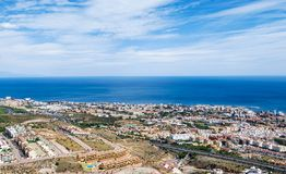 Aerial view on the Mediterranean sea, Benalmadena town and highway along the coast. Provence Malaga, Costa del Sol, Spain. Aerial view on the Mediterranean sea stock images