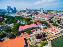 Aerial View of Melaka City. Historic Malacca City development. Taming Sari Tower. Clouds Stock Photography