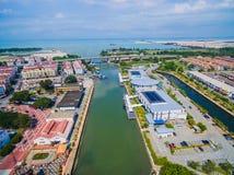 Aerial View of Melaka City. Historic Malacca City. Malacca Strait Stock Photography