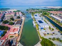 Aerial View of Melaka City. Historic Malacca City. Malacca Strait Stock Photos