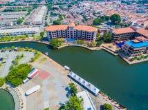 Aerial View of Melaka City. Historic Malacca City. River cruise Stock Photos
