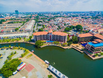 Aerial View of Melaka City. Historic Malacca City. River side Royalty Free Stock Image