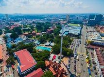 Aerial View of Melaka City. Historic Melacca City. Taming Sari Tower. Clouds Stock Photos